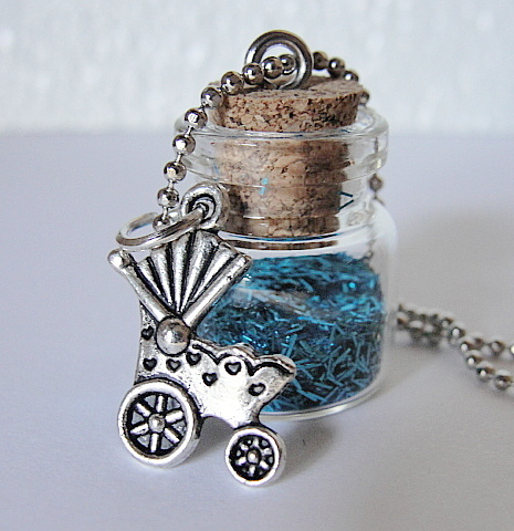 MINI BLUE Fairy Tinsel Dust--BABY Boy--Pewter BABY Carriage Charm--Lovely Gift--