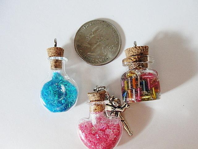 Mini FAIRY Dust Bottle Baby-BOY NECKLACE--Cherub ANGEL Pewter Charm-- Ball Chain