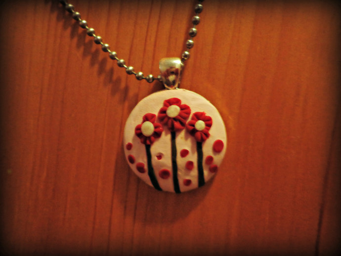 Necklace - Clay Pendant - Pale Pink with Red Flowers -Comes on a Ball Chain