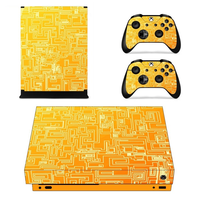 Abstract orange geometry Pattern xbox one X skin decal for console and 2
