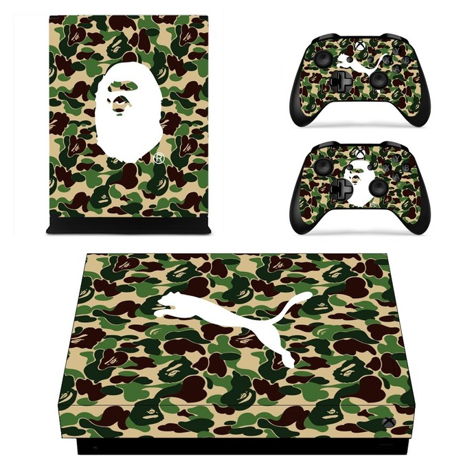 Custom Camouflage with puma logo xbox one X skin decal for console and 2