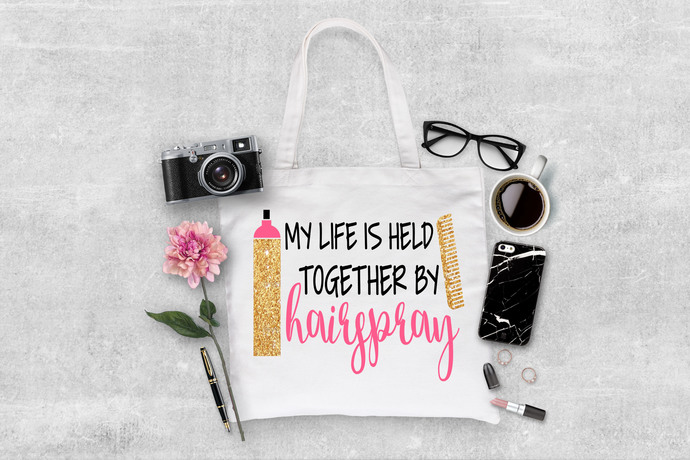 My Life is Held together By Hairspray, Custom Hairdresser tote bags, made to