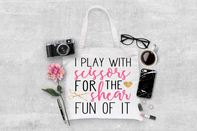 I play with scisssors for the shear fun of it, hairdresser tote bag, custom gift
