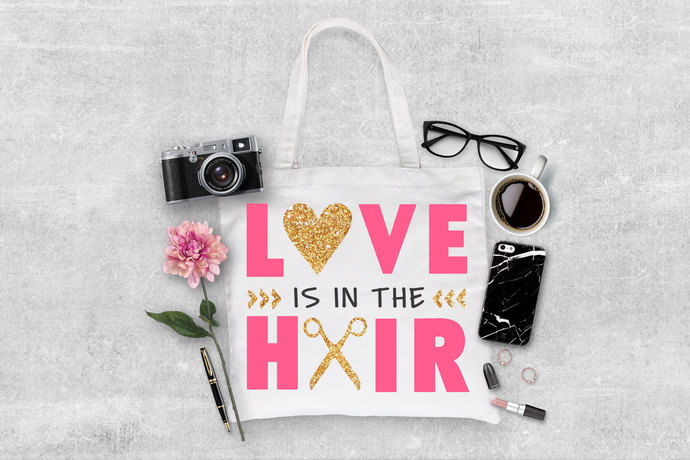 Love is in the Hair custom tote bag, personalized gifts, gift ideas for