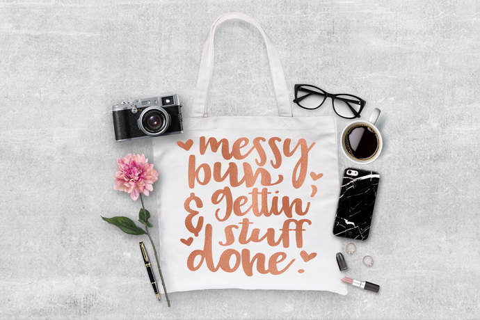 Messy Bun and getting stuff done, gifts for mom, mom tote bags, made to order