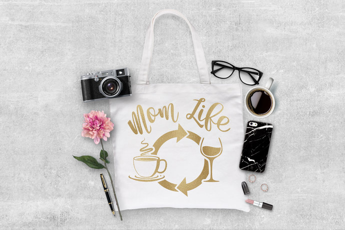 Mom life Coffee wine repeat, personalized tote bag, tote bags with quotes, gifts