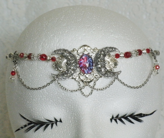 Dragon Breath Fire Opal Triple Moon Circlet
