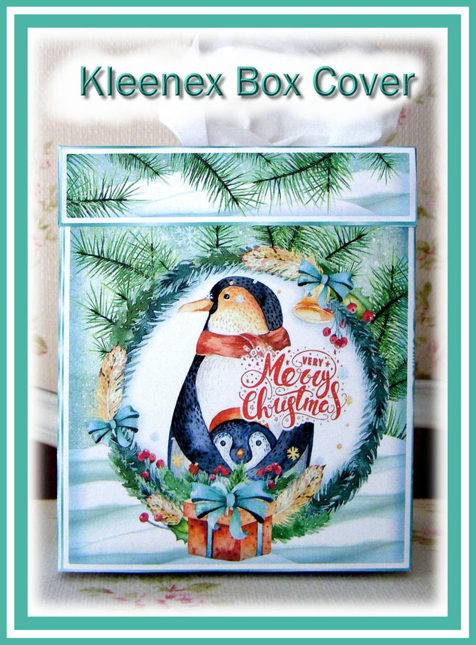 Penguin Family Kleenex Box Cover Kit - Digital Printable - INSTANT DOWNLOAD