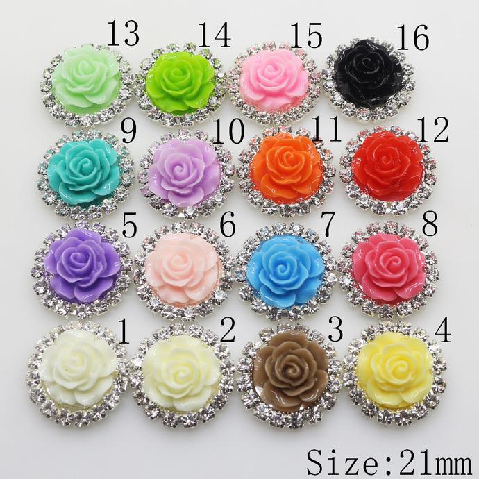 10 Shabby Rose Button  - 21 mm Flatback