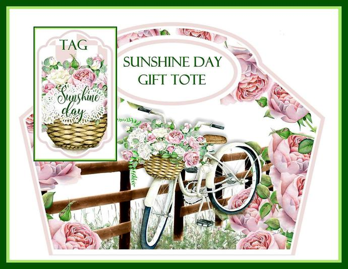 Sunshine Day Gift Tote and Tag Set - Digital Printable - INSTANT DOWNLOAD