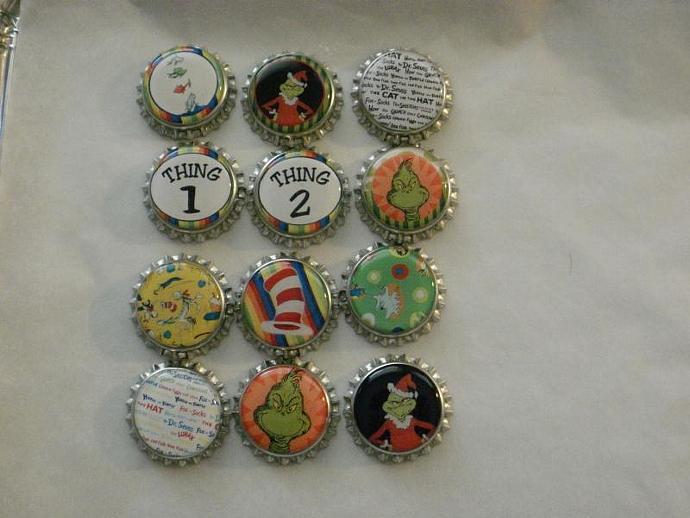 12 Finished Seuss Bottle Caps
