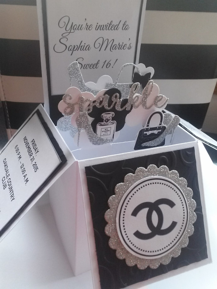 3D Card In A Box Chanel Designer Sweet 16 Quinceanera Birthday Party Invitations