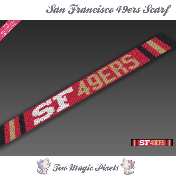 San Francisco 49ers Scarf pattern; graph; pdf download; C2C row-by-row counts