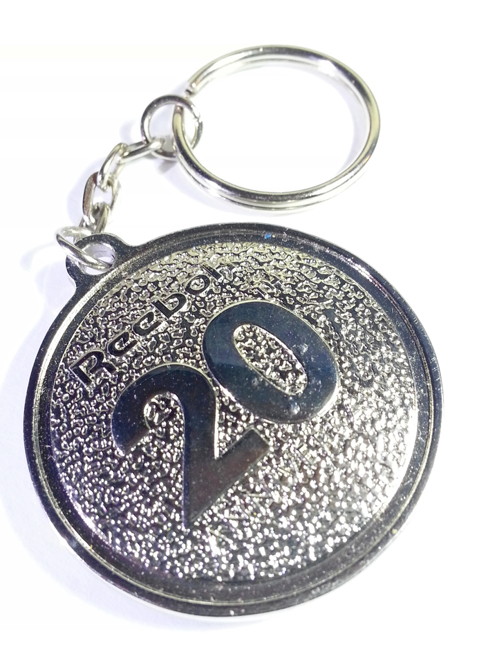 Reebok Pump 20th Anniversary Metal Round Keychain Key Ring - New Without Tag