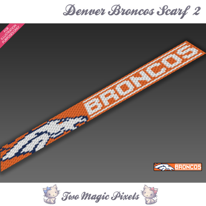 Denver Broncos Scarf 2 pattern; graph; pdf download; C2C row-by-row counts