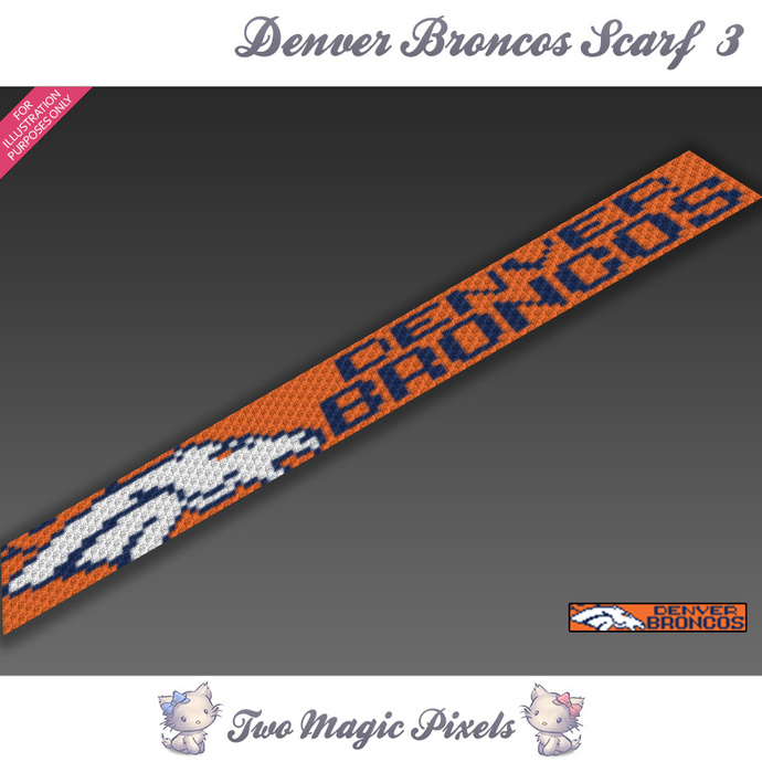 Denver Broncos Scarf 3 pattern; graph; pdf download; C2C row-by-row counts