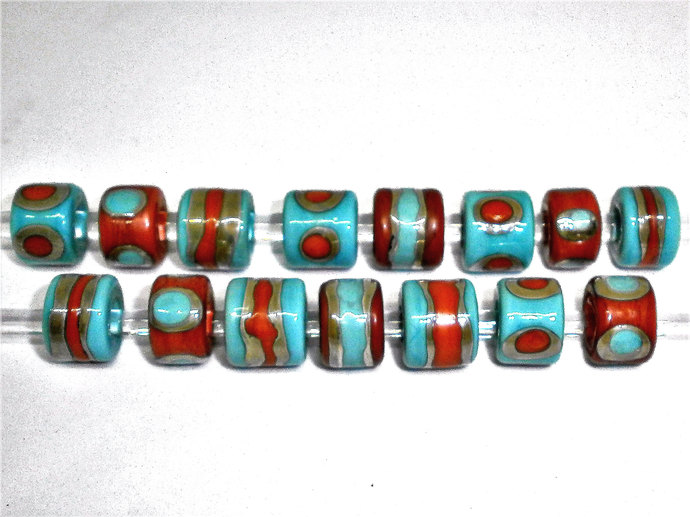 Barrel beads from my Sari Silk Series in Coral Orange and Light Turquoise Blue