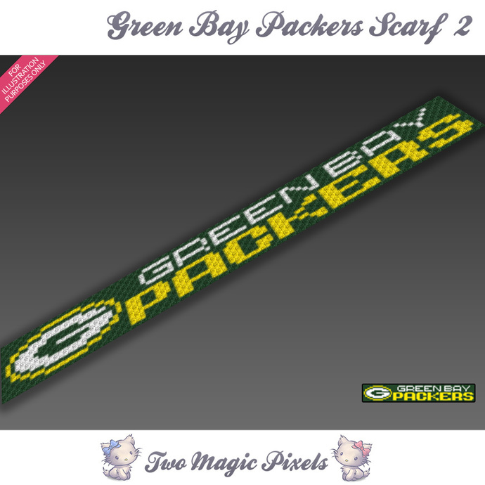 Green Bay Packers Scarf 2 pattern; graph; pdf download; C2C row-by-row counts