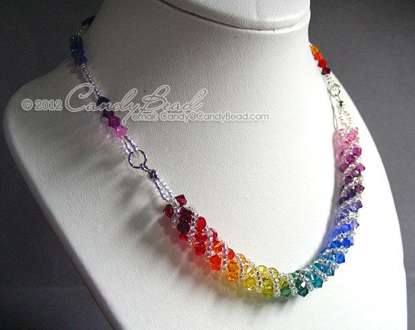 Swarovski necklace, Spectrum rainbow twisty Swarovski Crystal necklace by