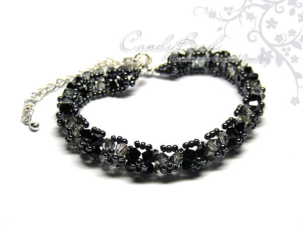 Crystal Bracelet; Swarovski Bracelet; Glass Bracelet; Black and Gray Swarovski