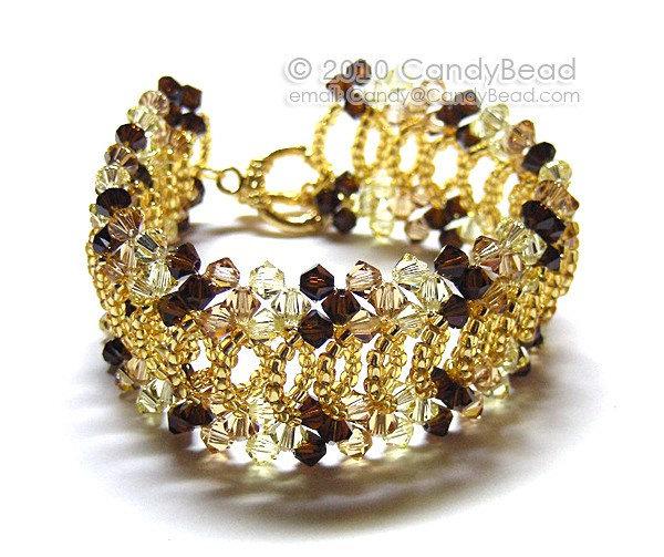 Gold Splendid Swarovski Crystal Cuff Bracelet by CandyBead