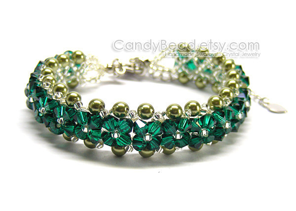 Swarovski Bracelet; Crystal Bracelet; Glass Bracelet; Emerald Green Bracelet by