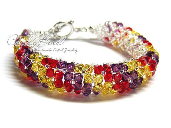 Swarovski Bracelet; Crystal Bracelet; Glass Bracelet; Multicolored - Red, Purple