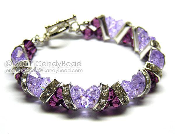 Swarovski Bracelet; Crystal Bracelet; Glass Bracelet; Purple Amethyst Crystal