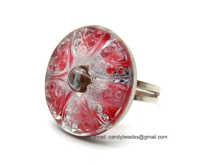 Czech glass button ring; adjustable ring; glass ring; red crystal ring