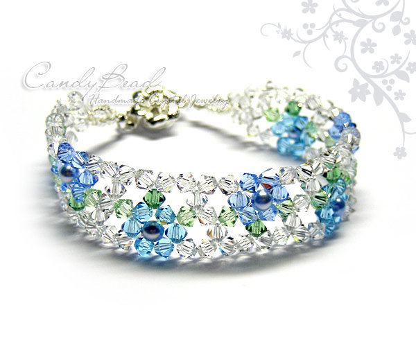 Swarovski Bracelet; Crystal Bracelet; Glass Bracelet; Blue Marine Flower Crystal