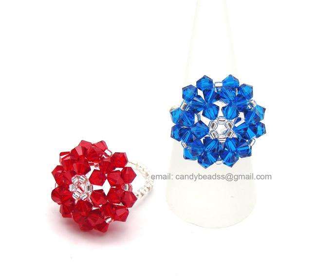 Swarovski Ring;crystal ring;Flower Button Ring, Red and Blue Daisy Swarovski
