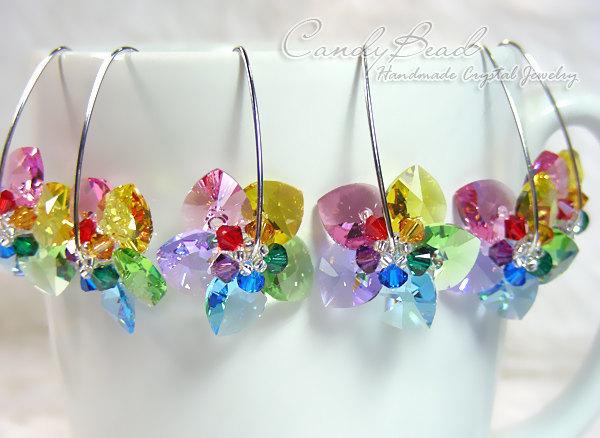 1e1871824 Swarovski earrings, Sweet Rainbow Flowers Swarovski Crystal Earrings - Best
