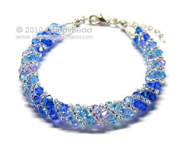 Swarovski Bracelet; Crystal Bracelet; Glass Bracelet; Deep Blue Sea Twisty