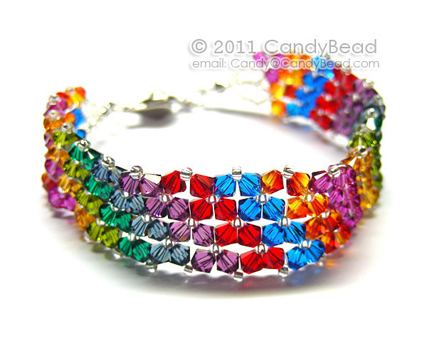 Rainbow bracelet; crystal bracelet; Swarovski bracelet; Glass bracelet;Hot
