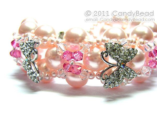 Swarovski Bracelet; Crystal Bracelet; Glass Bracelet; Sweet pink blossom and