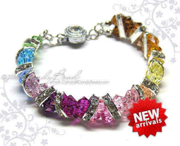 Swarovski Bracelet; Crystal Bracelet; Glass Bracelet; Sweet Rainbow Crystal Cuff