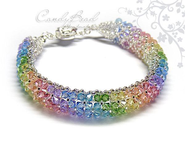 Rainbow bracelet  crystal bracelet  Swarovski by candybead on Zibbet d90ec60e43b7