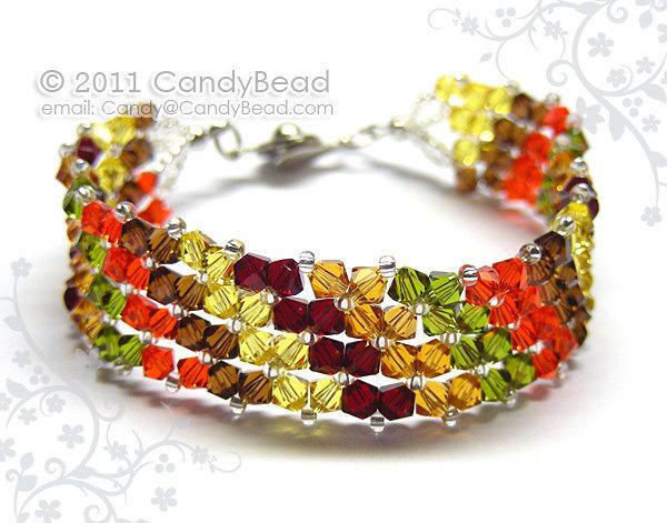 Swarovski Bracelet; Crystal Bracelet; Glass Bracelet; Simply Autumn Colors Shade