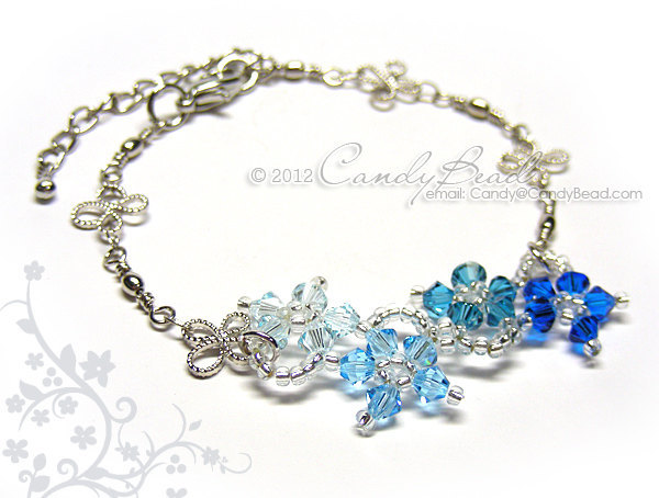 Swarovski Bracelet; Crystal Bracelet; Glass Bracelet; Blue Shade Flower Dancing