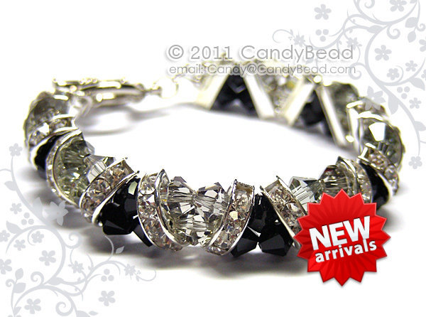 Swarovski Bracelet; Crystal Bracelet; Glass Bracelet; Black and Gray Crystal