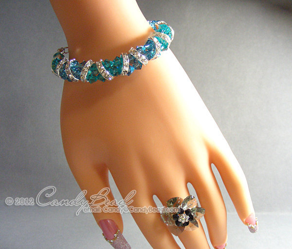 Swarovski Bracelet; Crystal Bracelet; Glass Bracelet; Gorgeous Brown and Teal