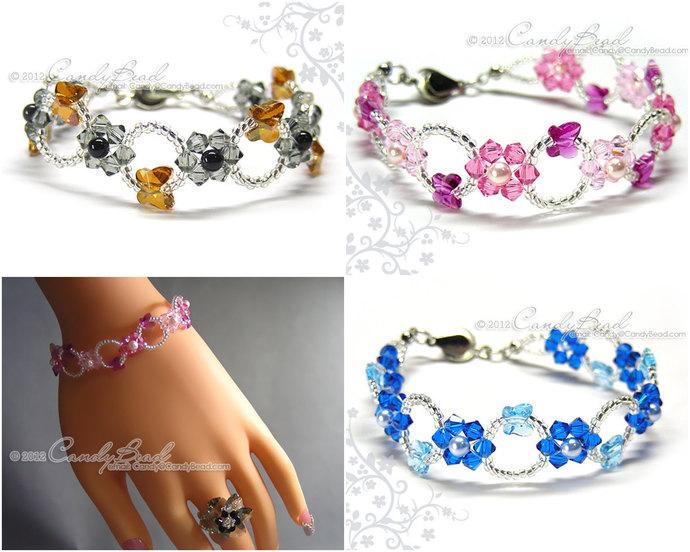 Swarovski Bracelet; Crystal Bracelet; Glass Bracelet;Rosy Pink, Copper Black,