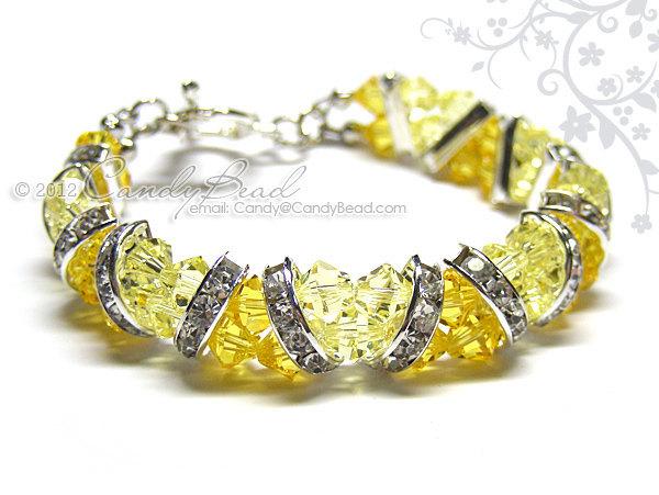 Swarovski Bracelet; Crystal Bracelet; Glass Bracelet; Light Yellow Topaz Crystal