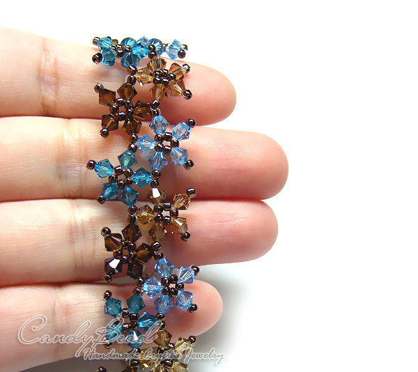 Swarovski Bracelet; Crystal Bracelet; Glass Bracelet; Sweet Brown and Blue