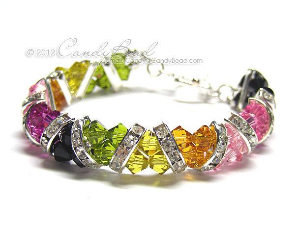 Swarovski Bracelet; Crystal Bracelet; Glass Bracelet; Silver Tourmaline Crystal