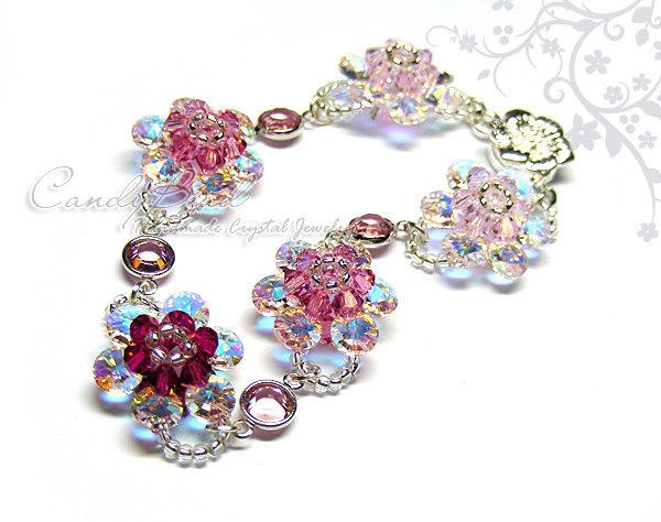 Crystal bracelet; Swarovski bracelet; Glass bracelet;Rosy Pink Swarovski Crystal