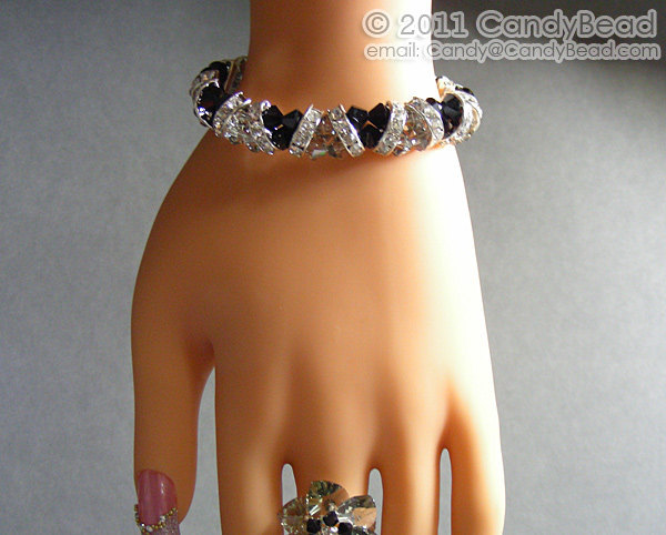 Swarovski Bracelet; Crystal Bracelet; Glass Bracelet; Black and White Crystal