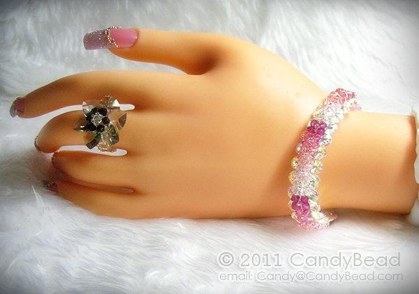 Swarovski Bracelet; Crystal; Glass; Bright Green Peridot, Blue Aquamarine,