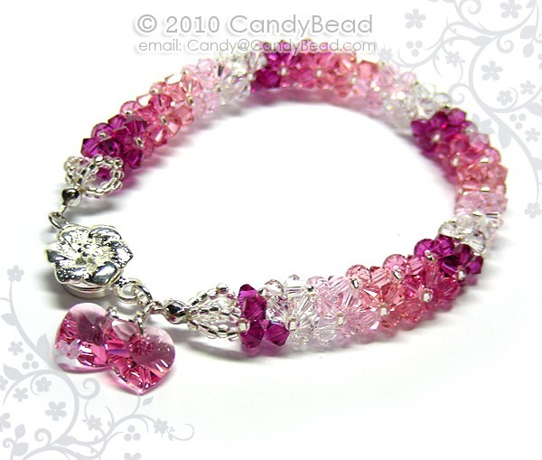 Crystal bracelet; Swarovski bracelet; Glass bracelet;Luxurious Rosy Shade