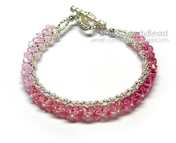 Swarovski Bracelet; Crystal Bracelet; Glass Bracelet; Pink and Rose Swarovski
